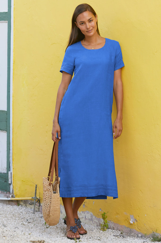 Annabel Linen Midi Dress | Cobalt Blue - Aspiga