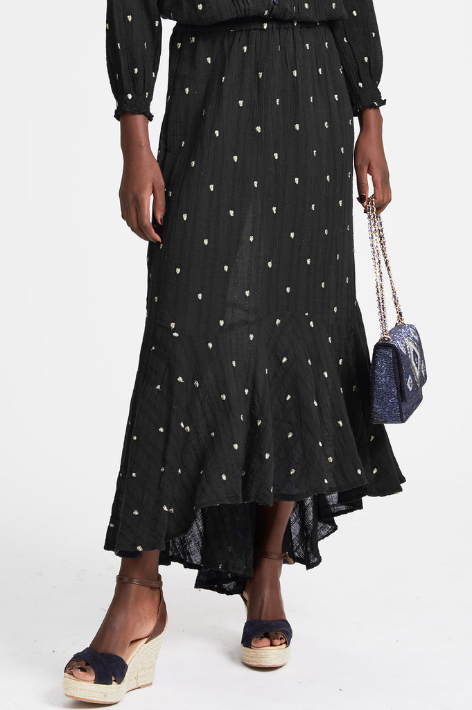 Anna Cotton Embroidered Skirt | Black - Aspiga