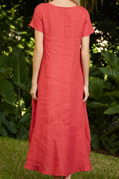 Annie Linen Dress | Red Coral