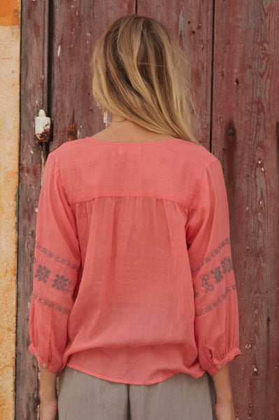 Ari Embroidered Cotton Blouse | Coral