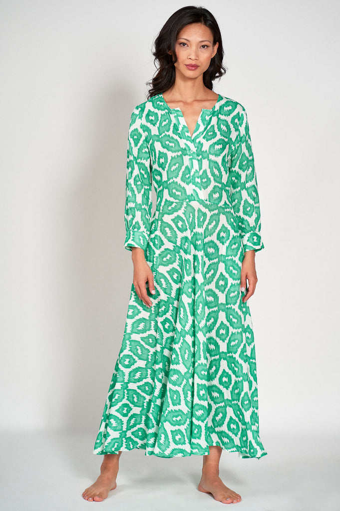 Azurite Linen Midi Dress by Nimo with love | Ikat Green - Aspiga