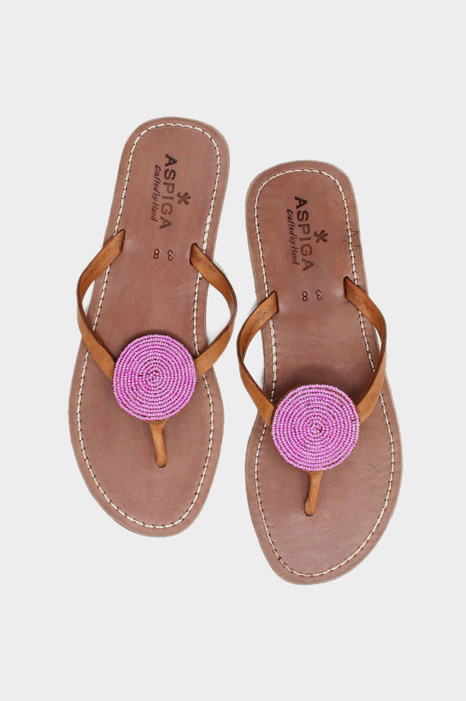 Disc Leather Sandals | Pink