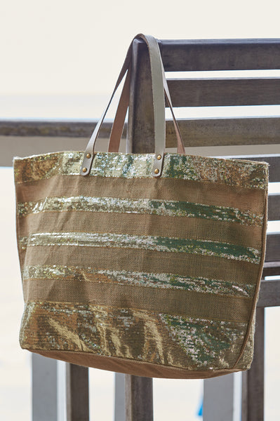 Large Sequined Striped Jute Tote Bag by Muche et Muchette | Natural