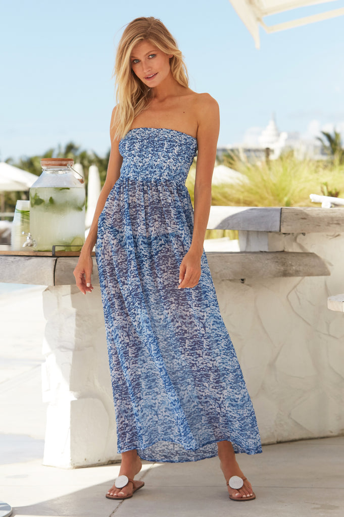 Isla Chiffon Bandeau Dress | Zanzibar Blue