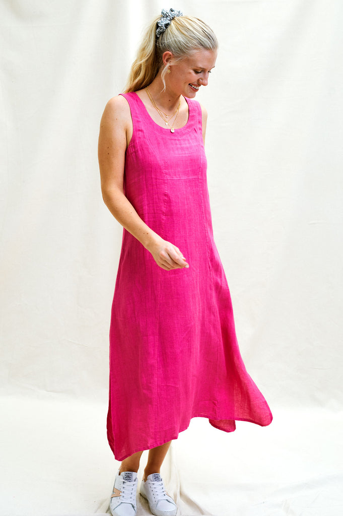 Becky Premium Linen Midi Dress | Fuschia