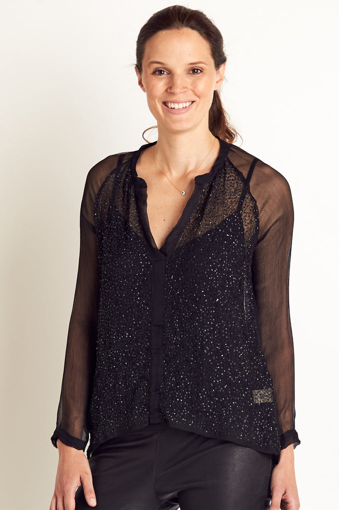 Benjimina Silk And Sequin Blouse by Charlie Joe | Black