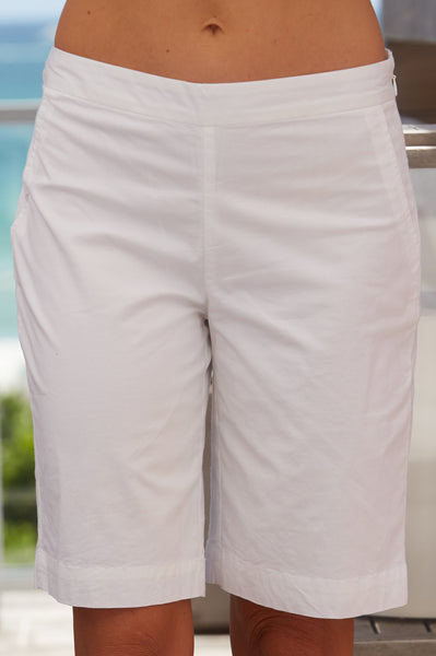 Sky Bermuda Stretched Cotton Blend Shorts | White