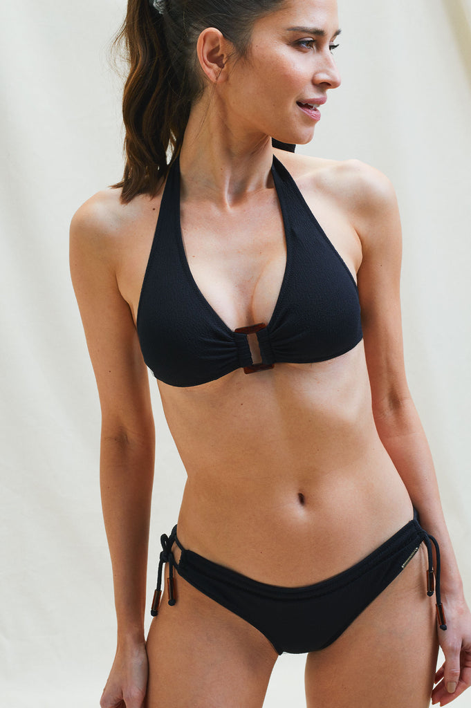 Hero Recycled Halter Bikini Top and Tie Side Tassel Bottom | Black