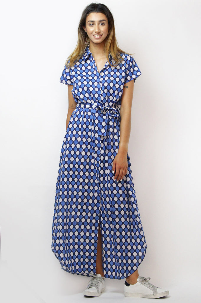 Maxi Shirt Dress | Blue/White