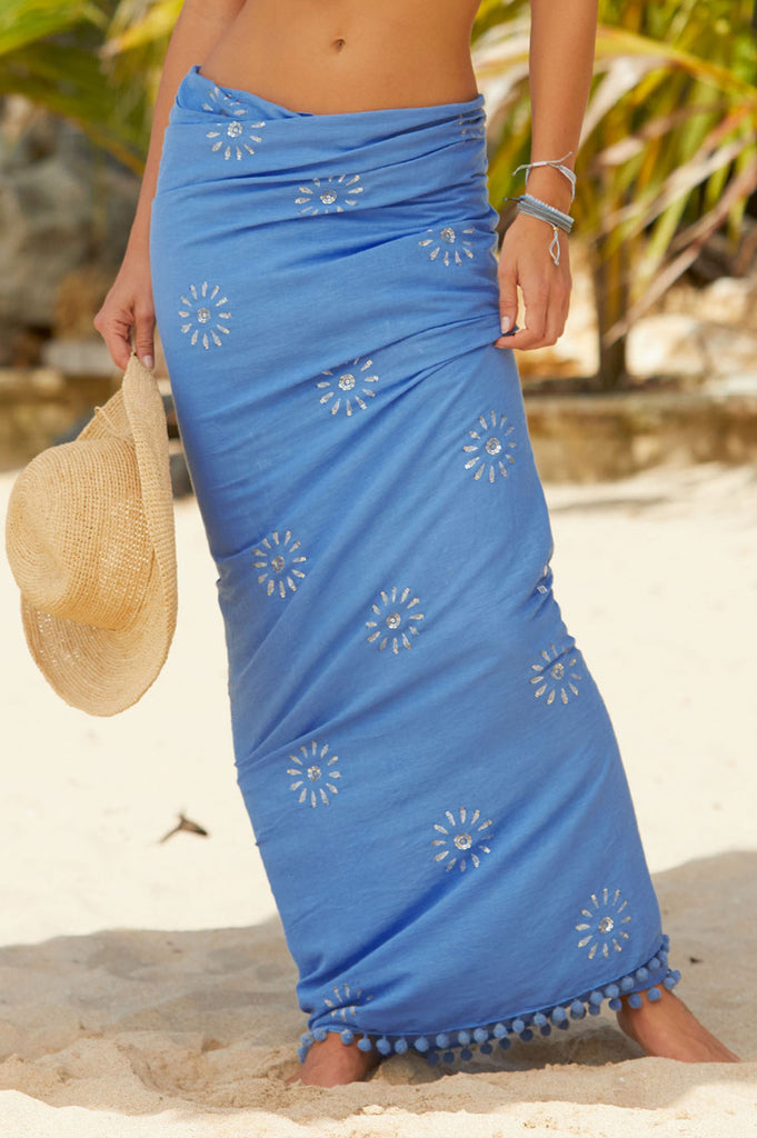 Kiki Sequin Sarong | Powder Blue/Silver