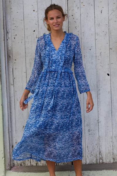 Boho Chiffon Dress | Zanzibar Blue