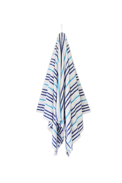 La Paz Beach Blanket by Las Bayadas | White/Blue