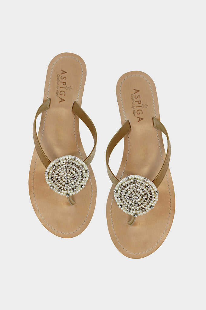 Chandi Disc Sandals | White - Aspiga