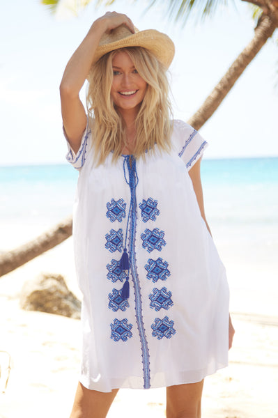 Charlotte Embroidered Cotton Dress | White/Blue