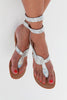 Cobra Wrap Sandals | Silver - Aspiga