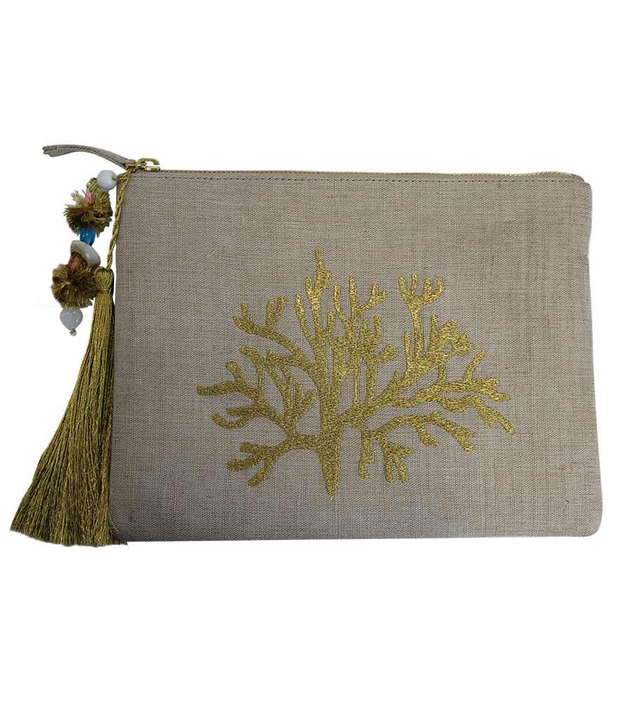 Coral Jute Clutch with Tassels | White/Gold