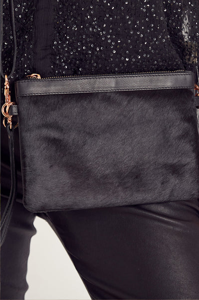 Crossbody Leather Clutch | Black