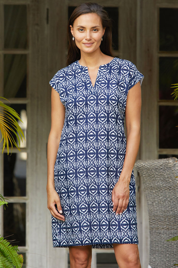 Dori Organic Cotton Dress | Ikat Navy/White - Aspiga