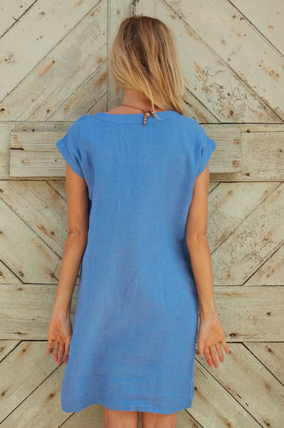 Dori Linen Dress | Marina Blue