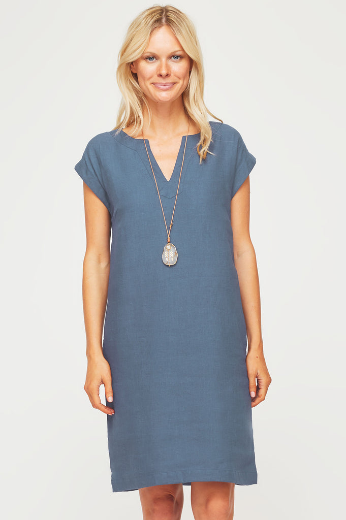 Dori Linen Dress | Dusty Blue