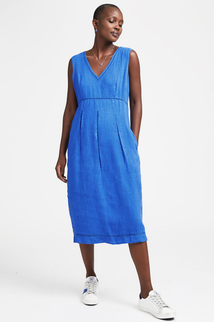 Elenor Linen Midi Dress | Cobalt Blue - Aspiga