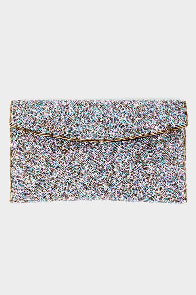 Elisa Beaded Clutch | Pink/Sea Green