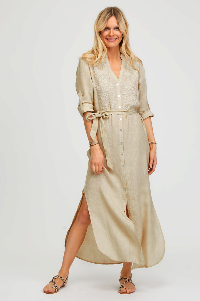 Embroidered Maxi Linen Tunic | Camel