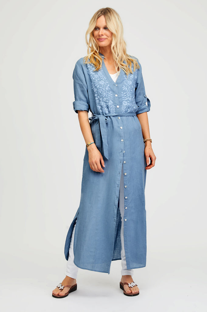 Embroidered Maxi Linen Tunic | Dusty Blue