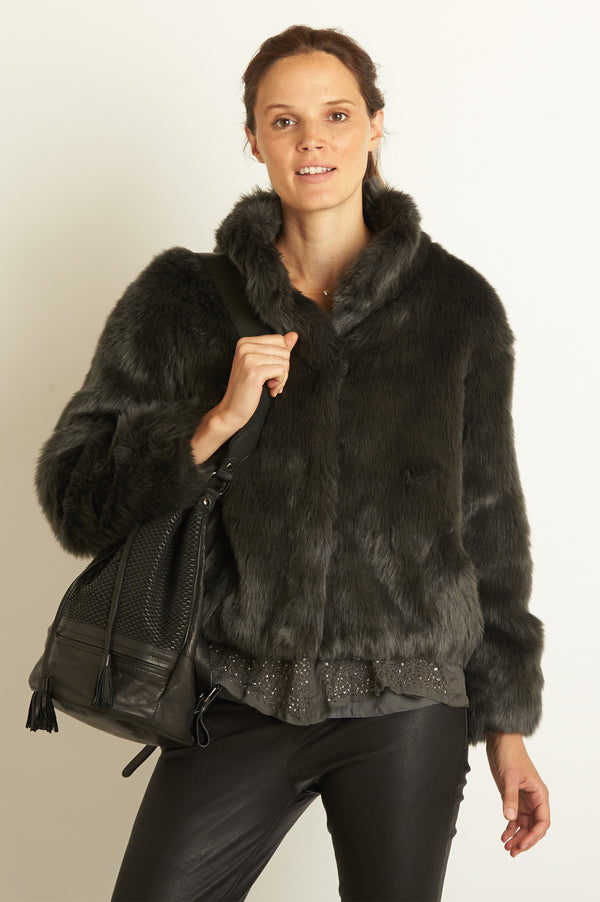 Image: Faux Fur Jacket by Ruby & Ed | Smoke