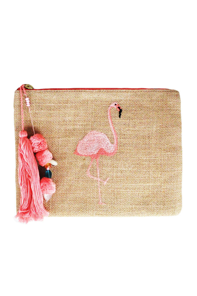 Flamingo Jute Clutch with Tassels | Pink