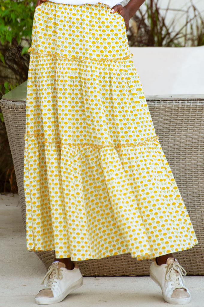 Organic Cotton Maxi Tiered Skirt | Flower Yellow - Aspiga