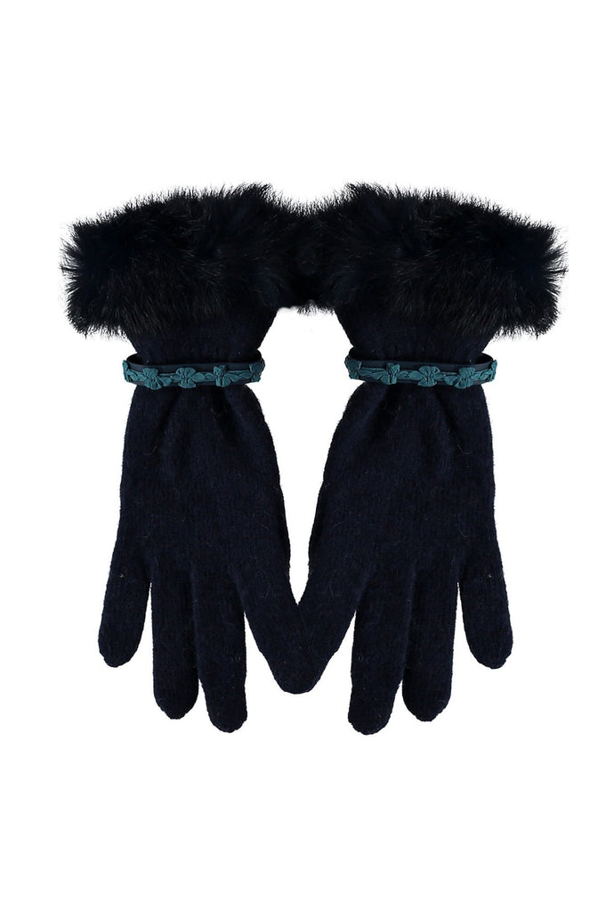 Leah Wool Gloves With Fur Trim by Santacana | Navy