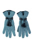 Leather Tassel Gloves by Santacana | Light Blue