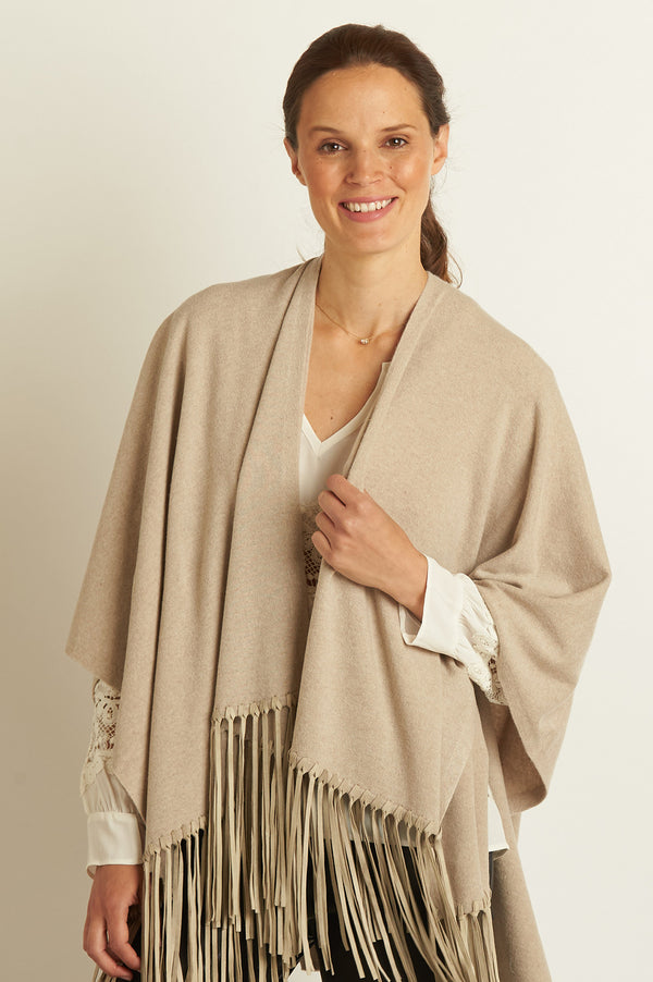 Image: Leather Fringe Poncho | Camel