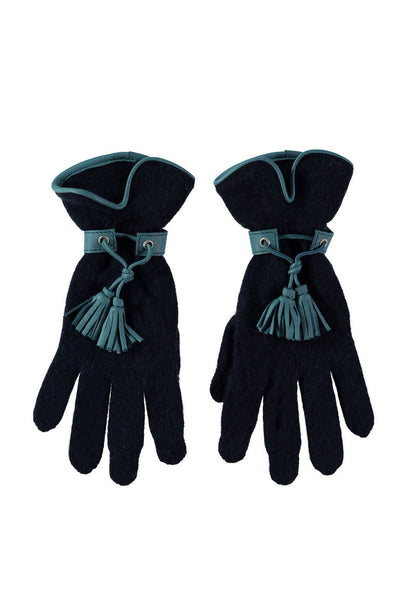 Leather Tassel Gloves by Santacana | Navy