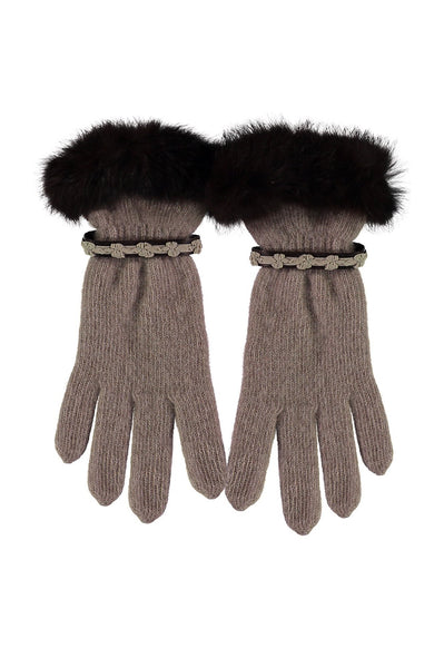 Leah Wool Gloves with Fur Trim by Santacana | Camel