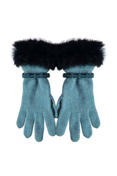 Leah Wool Gloves with Fur Trim by Santacana | Light Blue