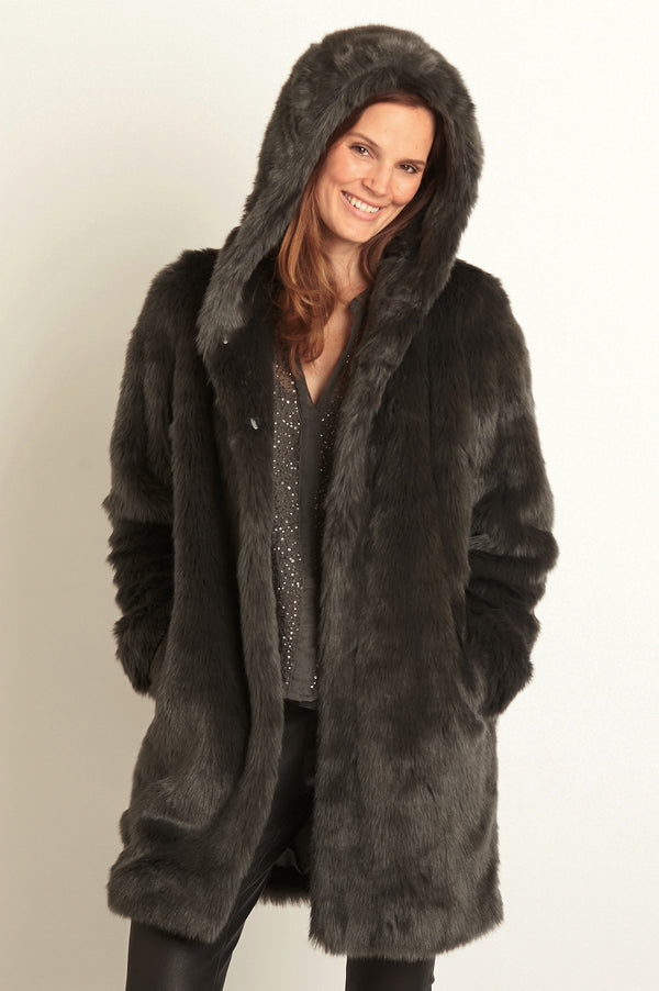 Image: Faux Fur Hooded Coat by Ruby & Ed | Smoke