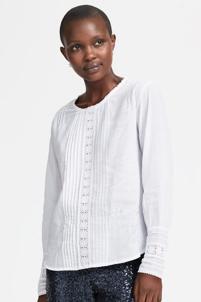 Gina Embroidered Blouse | White - Aspiga