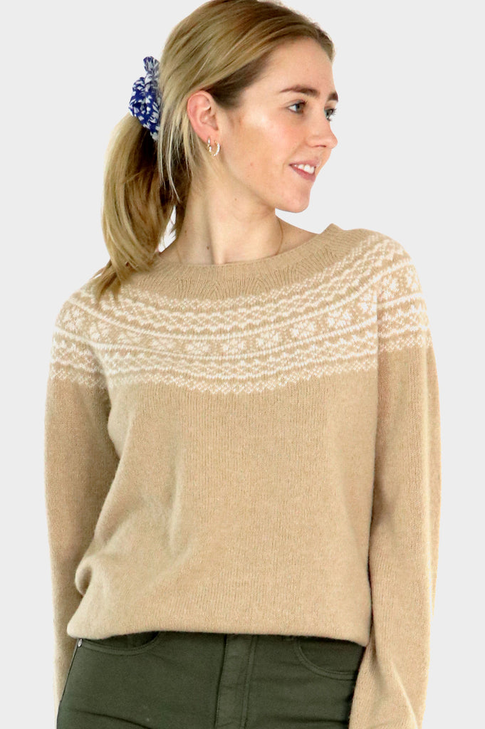 Fair Isle Crewneck Sweater | Camel/Cream