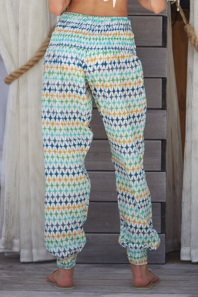 Harem Cotton Trousers | Mosaic Green/White