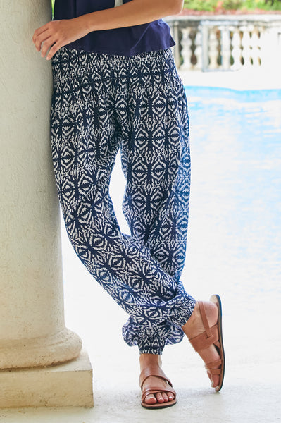 Harem Cotton Trousers | Ikat White/Navy