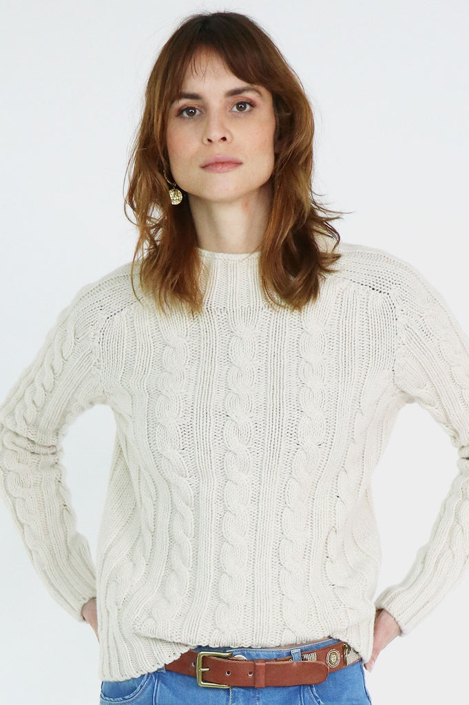 Cable Knit Turtle Neck | Cream