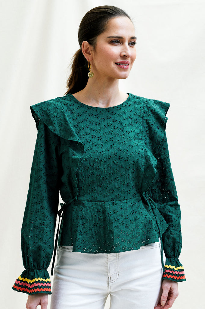 Hope Cotton Blouse | Forest Green