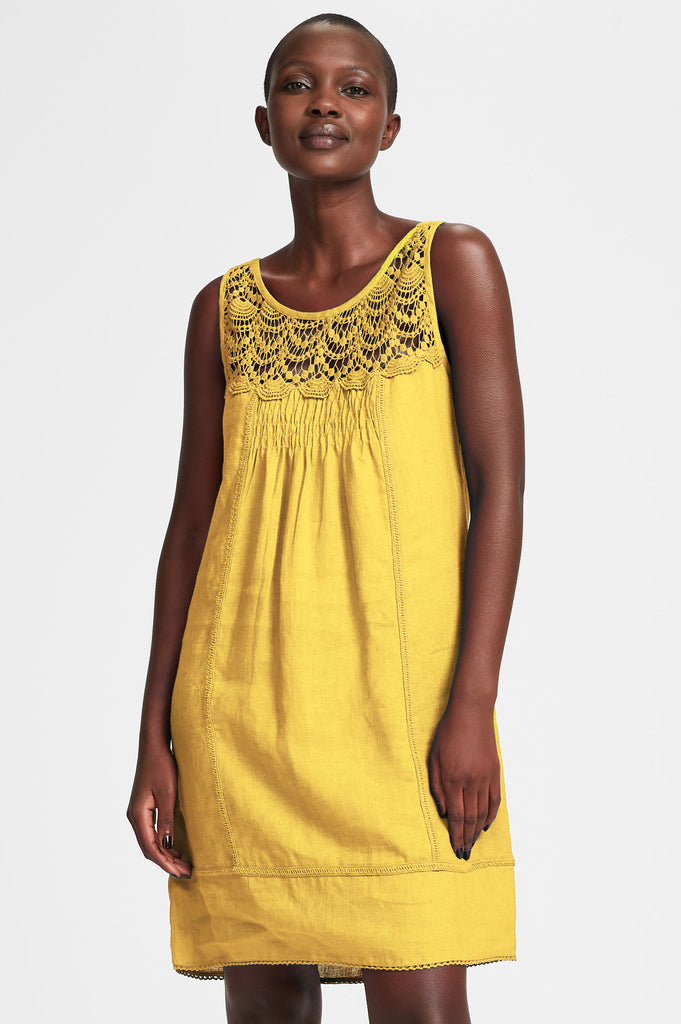 Ibiza Linen Dress | Yellow - Aspiga