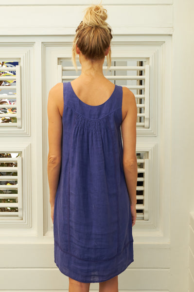 Ibiza Linen Dress | Cobalt Blue