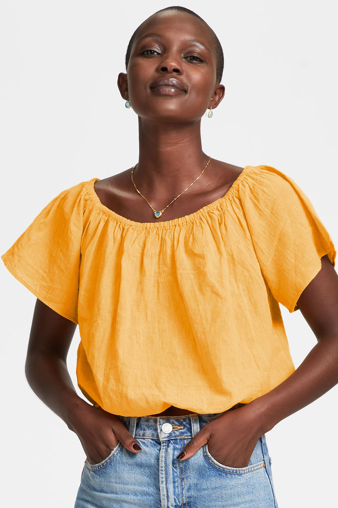 Ilana Organic Cotton Top | Mango - Aspiga