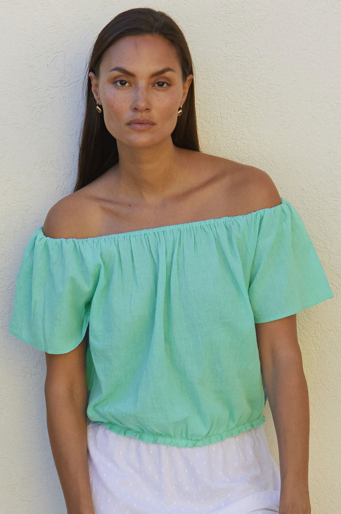 Ilana Organic Cotton Top | Sea Green - Aspiga