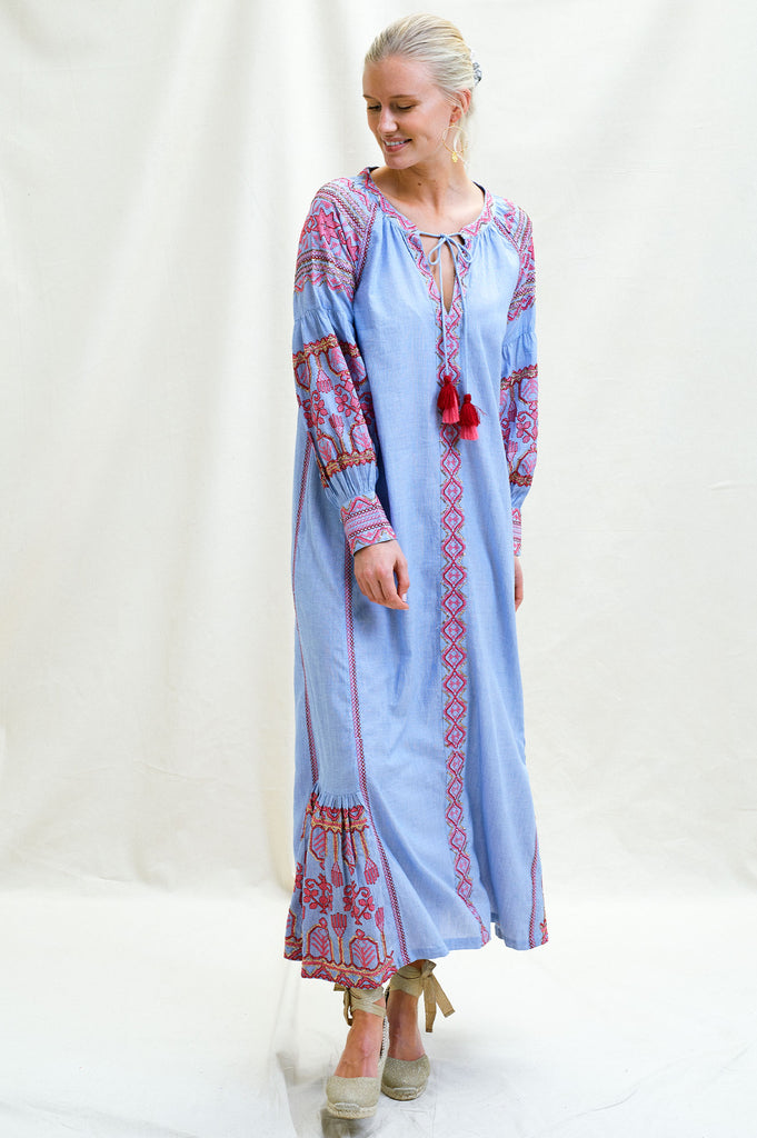 Karina Cotton Embroidered Maxi | Blue/ Pink