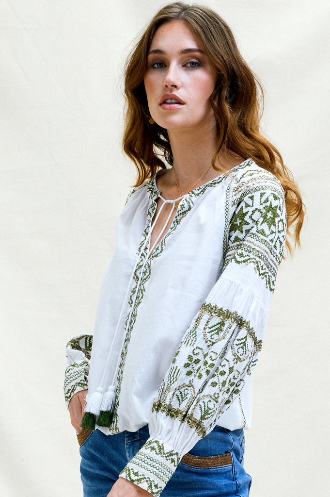 Kiera Cotton Embroidered Top | White/ Khaki